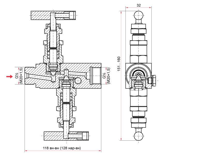 двухвентильный игольчатый клапан из нержавеющей стали тип наружная / внутренняя G1/2